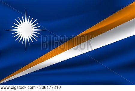 Realistic Waving Flag Of Marshall Islands, The Waving Flag Of Marshall Islands, High Resolution Fabr