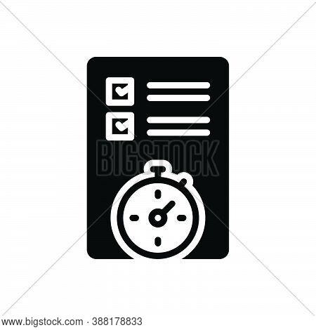 Black Solid Icon For Planning Organized Arrangement Setting Scheduling Preparation Project Sheme