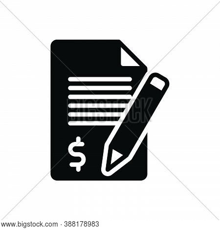 Black Solid Icon For Claim Demand Requirement Application Money Checklist Document