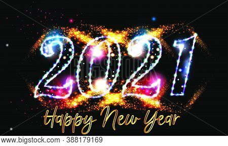 2021 Happy New Year Eve Glowing Text Design With Golden Light On Black Background - Happy New Year 2