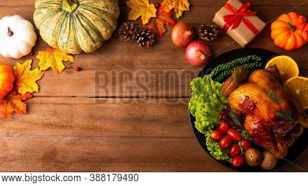 Thanksgiving Roast Turkey Or Chicken And Vegetables, Top View Christmas Dinner Feast Food Decoration