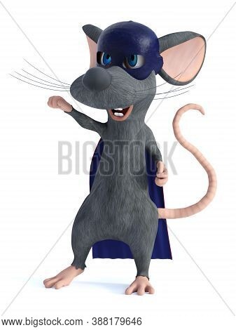 3d Rendering Of A Cute Smiling Cartoon Mouse Dressed As A Super Hero With A Blue Face Mask And Cape.