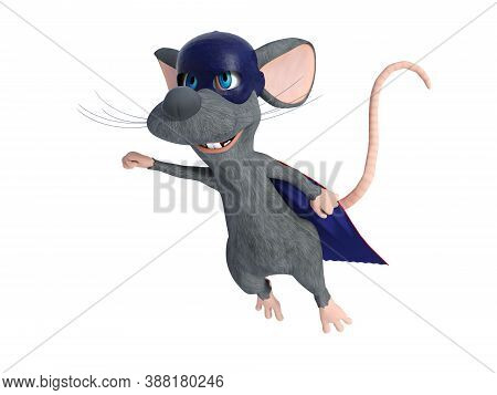 3d Rendering Of A Cute Smiling Cartoon Mouse Flying While Dressed As A Super Hero With A Blue Face M