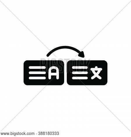 Black Solid Icon For Interpret Explain Decode Exhort Illustrate Expound Translate Dictionary Languag