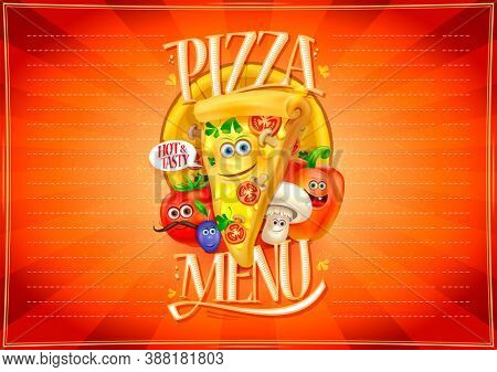 Pizza menu board, empty place for text, funny pizza and vegetables personages, kids menu, raster version