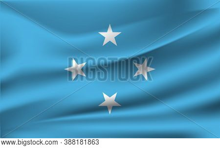 Flag Of Micronesia. Realistic Waving Flag Of Federated States Of Micronesia. Fabric Textured Flowing