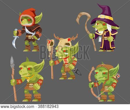 Goblins Characters Set Dungeon Monster Army Fantasy Medieval Action Rpg Game Characters Vector Illus
