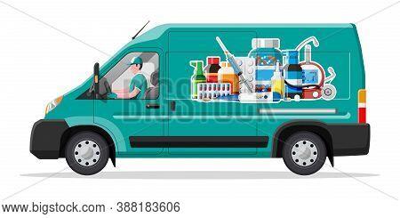 Van For Delivery Pharmaceutical Drugs. Green Drugstore Truck. Internet Pharmacy, Oline Order. Medica
