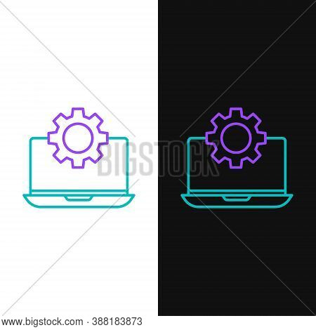Line Laptop And Gear Icon Isolated On White And Black Background. Laptop Service Concept. Adjusting