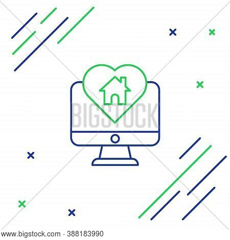 Line Computer Monitor With House In Heart Shape Icon Isolated On White Background. Love Home Symbol.