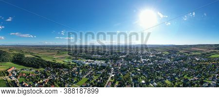 Wolkersdorf In Weinviertel, Lower Austria. Aerial View Of The Small Town In The Vienna Suburbs.