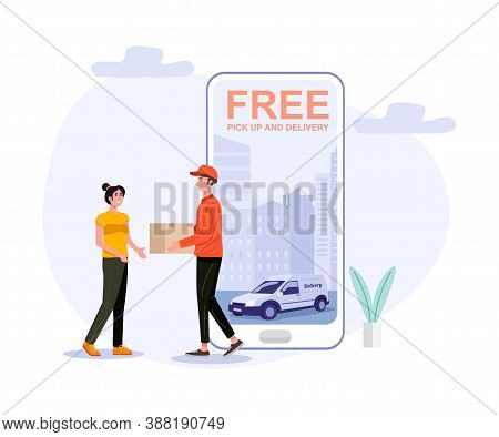Delivery Man Handling Parcel Package Box To Customer. Vector