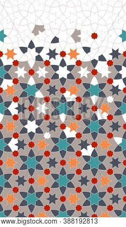 Turkish Geometric Pattern. Color Islamic Pattern. Geometric Halftone Texture With Mixed Arabesque Co