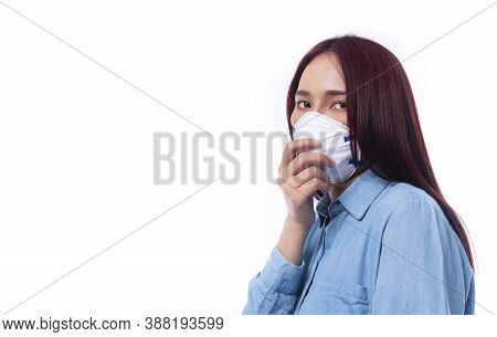Young Women Wear Face Masks To Protect Disease Viruses Covid19 And Air Pollution (pm2.5) Or N95 Mask