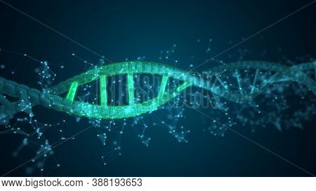 Abstract Digits Dna Scanning Molecule For Biology, Biotechnology, Chemistry, Science, Medicine, Cosm