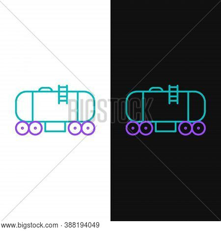 Line Oil Railway Cistern Icon Isolated On White And Black Background. Train Oil Tank On Railway Car.