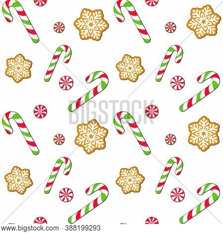 Christmas Treats, Candy Canes, Cookies, Gingerbread, Sweets On A White Background. Vector Seamless P