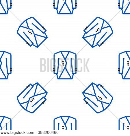 Line Suit Icon Isolated Seamless Pattern On White Background. Tuxedo. Wedding Suits With Necktie. Co