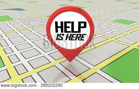 Help is Here Map Pin Location Get Assistance Support 3d Illustration