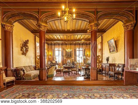 Chaumont-sur-loire, France -october 18, 2019: Interior Living Room Chateau De Chaumont, Loire Valley