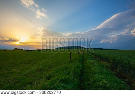 Scenery In Central Bohemian Highlands, Czech Republic. Central Bohemian Uplands  Is A Mountain Range