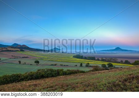 Misty Morning In In Central Bohemian Uplands, Czech Republic. Central Bohemian Uplands Is A Mountain