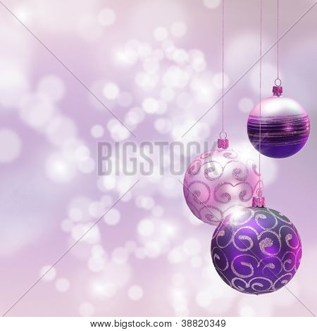 Christmas decoration over blured shiny background. Space for text.