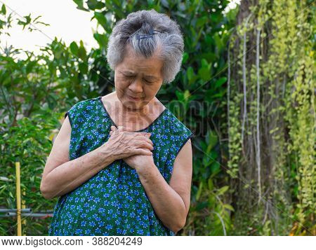 Portrait Of Elderly Woman Having Heart Attack. Senior Woman Clutching Her Chest In Pain At The First
