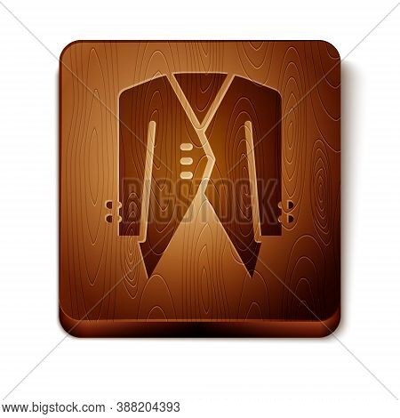Brown Suit Icon Isolated On White Background. Tuxedo. Wedding Suits With Necktie. Wooden Square Butt