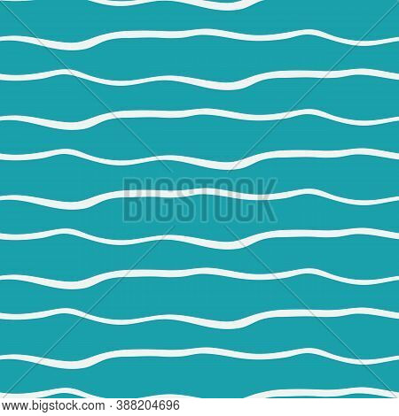 Abstract Hand Drawn Doodle Sea Waves. Seamless Vector Pattern Background. Linear Geometric Irregular