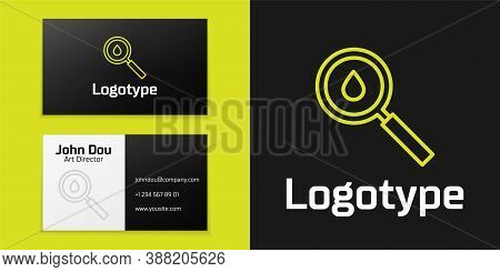 Logotype Line Oil Drop Icon Isolated On Black Background. Geological Exploration, Geology Research.
