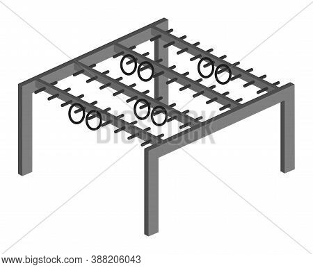Isometric Vector Icon Of Sports Horizontal Bar With Rings Outdoors. Symbol Of The Crossbar For Sport