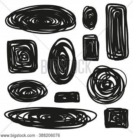 Tangled Geometric Shapes. Random Chaotic Lines. Hand Drawn Geometric Scrawls. Black And White Illust