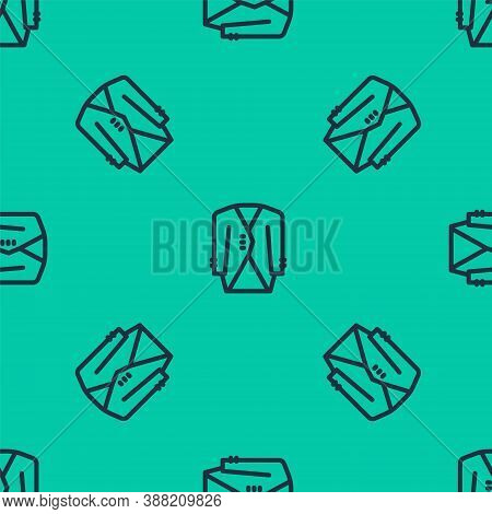 Blue Line Suit Icon Isolated Seamless Pattern On Green Background. Tuxedo. Wedding Suits With Neckti