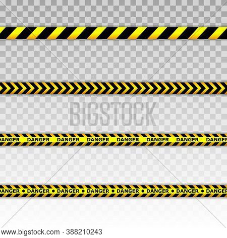 Caution Tape Set Of Yellow Warning Ribbons. Caution Lines Isolated. Warning Tapes. Danger Signs. Vec