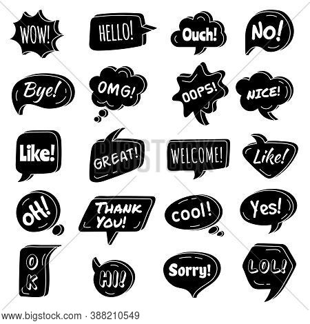 Talking Phrase. Speech Bubbles Circle Shapes With Dialogue Simple Phrase Vector Text Areas Collectio