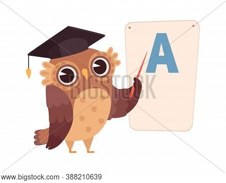 Learning Letters. Owl At Poster With Letter A, Isolated Night Bird Character. Training And Education