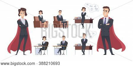 Male Female Business Characters. Different Office Situation, Manager Superhero Or Team Leader. Leade