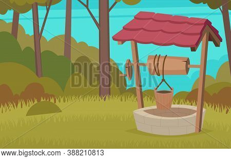 Forest Water Well. Construction Country Wood Vector Wellness Cartoon Background. Well Source Nature