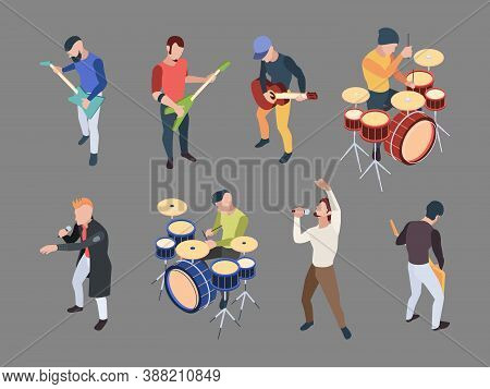 Music Band. Isometric Characters Musicians Singers With Microphone Rock Band Music Instruments Vecto