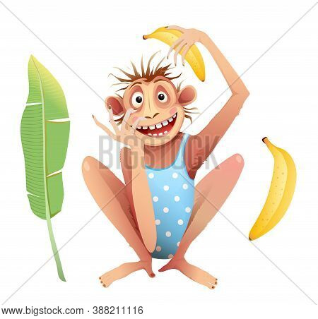 Monkey Chimp Sitting With Crazy Mimicking Facial Expression. Funky Chimpanzee Animal Mascot Isolated