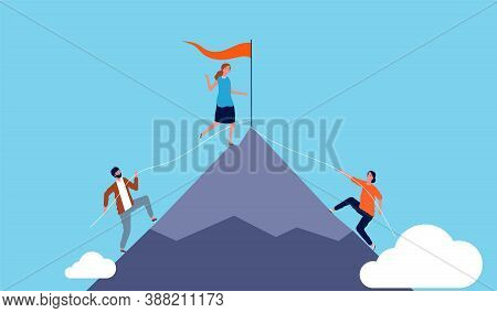 Career Competition. Woman Winner, Business People Climb To Success. Self Growth Metaphor Vector Illu