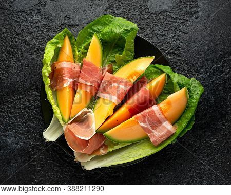 Prosciutto Parma Ham Wrapped Sweet Melon Cantaloupe Slices Appetizers Snack