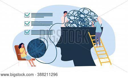 Psychotherapy Concept. Psychologist Assistance, Mind Update Metaphor. Psychology Helping Vector Illu
