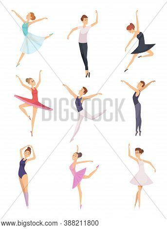 Ballet Boys And Girls. Ballet Dancers Male And Female Vector Characters Isolated. Girl And Boy Balle