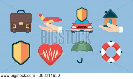 Insurance Icon. Property Policy Insurance Objects Business Life Health Vector Symbols Collection. In