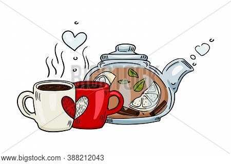 Teapot And Cup With Steam Standing On Table. Stylized Card In Sketch Style. Hand Drawn Doodle Sketch