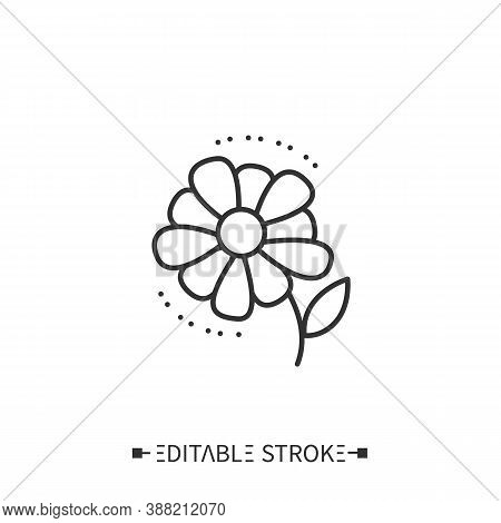 Daisy Line Icon.outline Drawing. Boho Decorative Paisley Floral Element. Rustic, Ethnic, Indian Styl