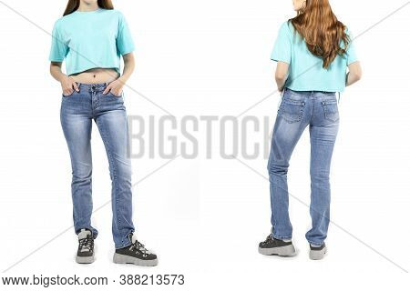 Girl In Jeans Shows Off Jeans On White Background Close Up, Blue Jeans