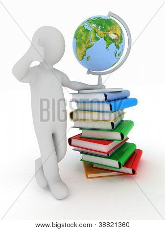 Man by presentation a globe and books over white background. Elements of this image furnished by NASA